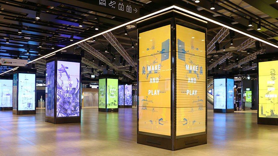 192面60吋LED大螢幕打造12座多媒體播放設備